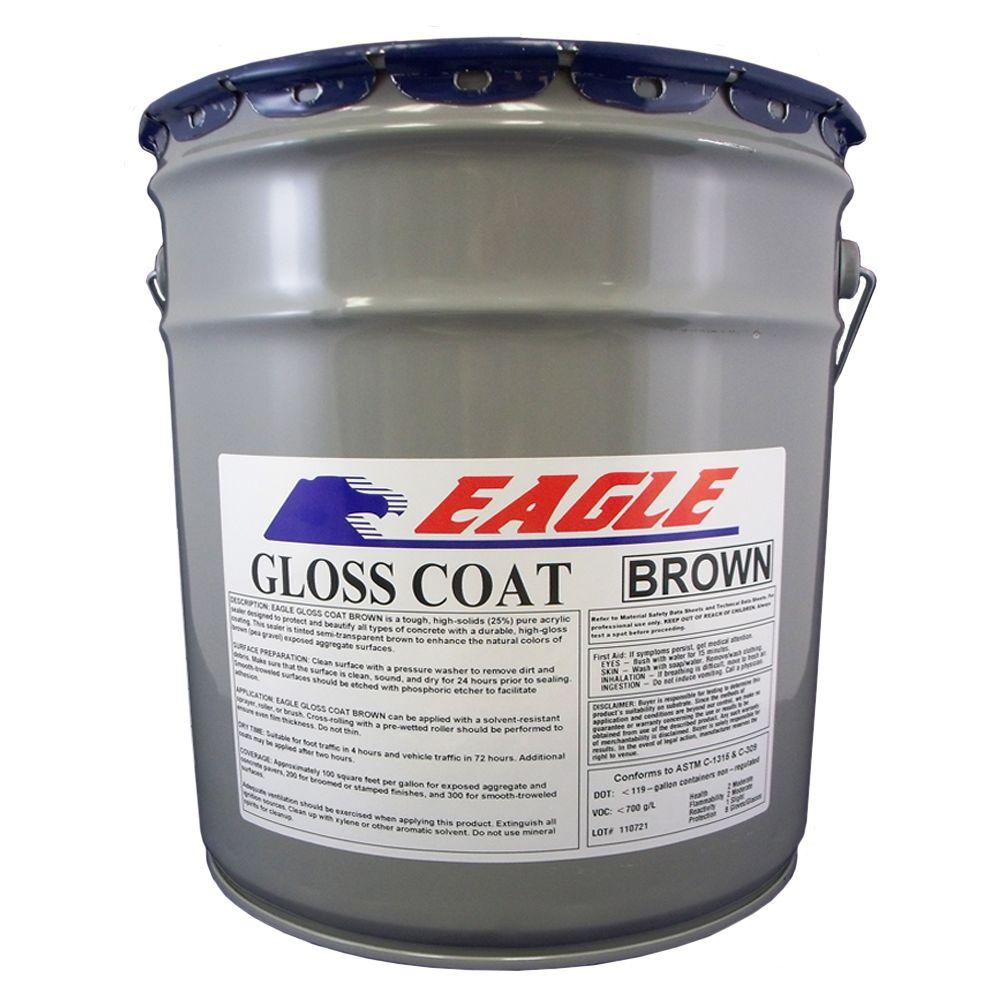 Eagle 5 Gal. Gloss Coat Brown Tinted Semi-Transparent Wet Look Solvent-Based Acrylic Exposed Aggregate Concrete Sealer