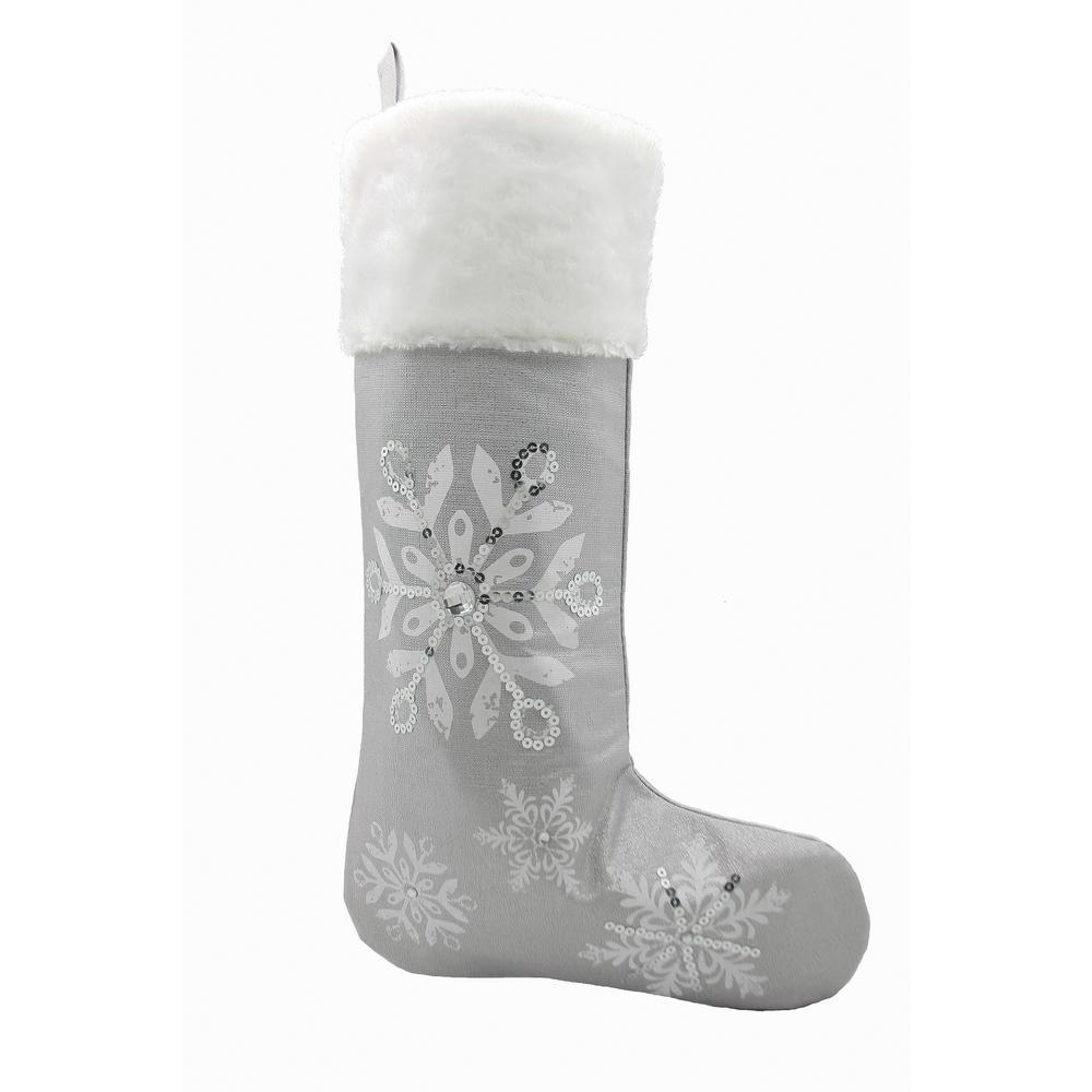 20 in. Glistening Snow Christmas Stocking