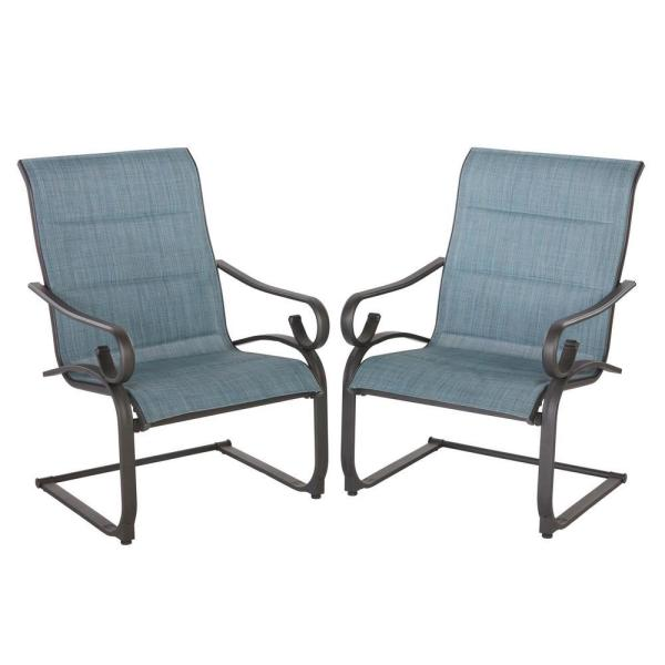 Crestridge Steel Sling Padded C-Spring Outdoor Patio Lounge Chair in Conley Denim (2-Pack)