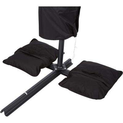 Saddlebag Style Sand Weight Bag Patio Umbrella Base in Black (Single Unit)