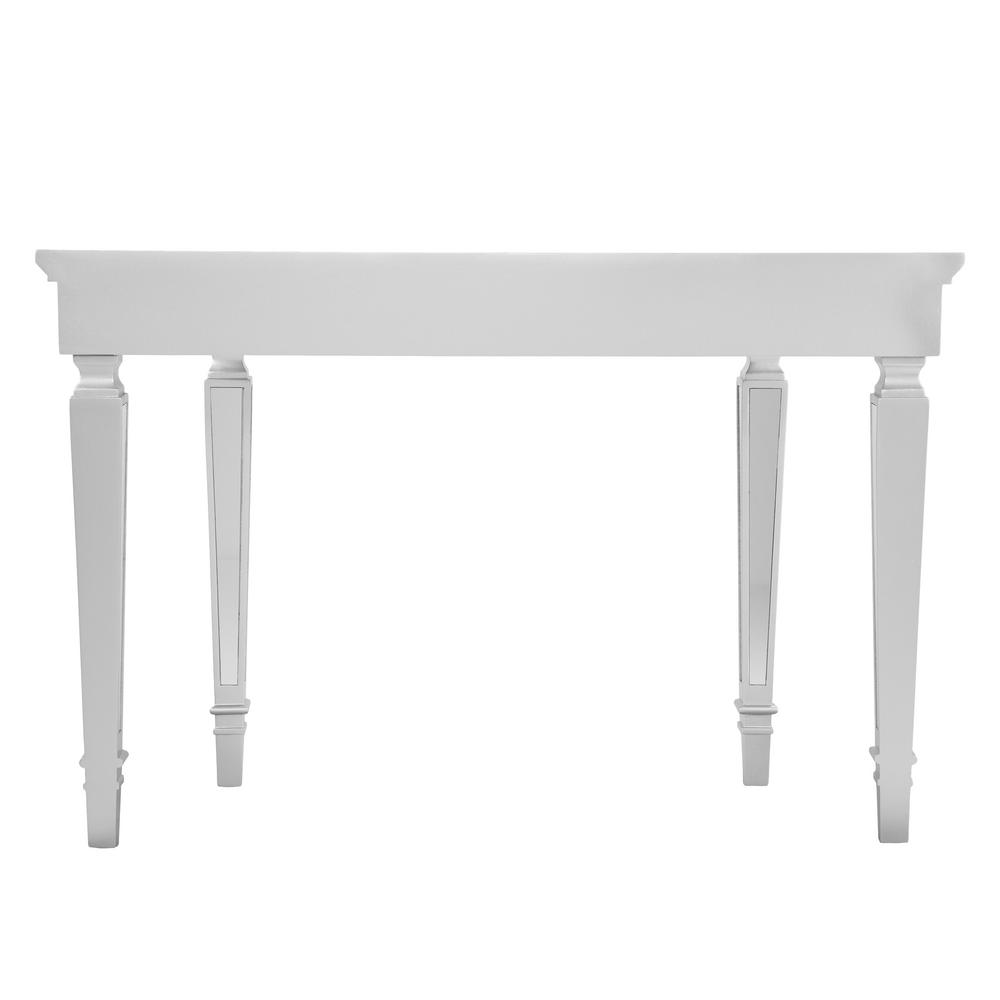 Bardot Glam Mirrored Matte Silver Metallic Console Table