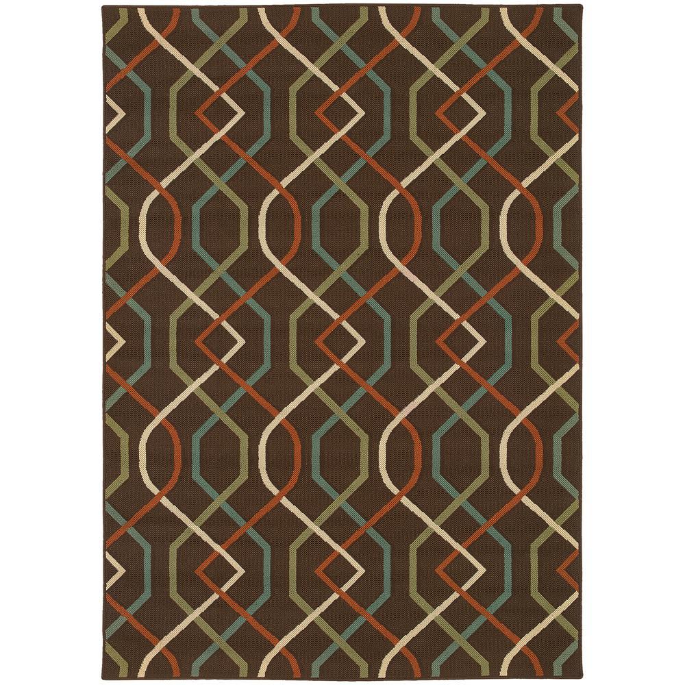Illusion Brown 5 ft. 3 in. x 7 ft. 6 in. Indoor/Outdoor Area Rug