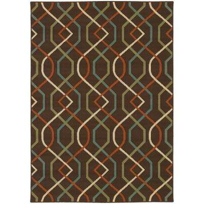 Illusion Brown 6 ft. 7 in. x 9 ft. 6 in. Indoor/Outdoor Area Rug