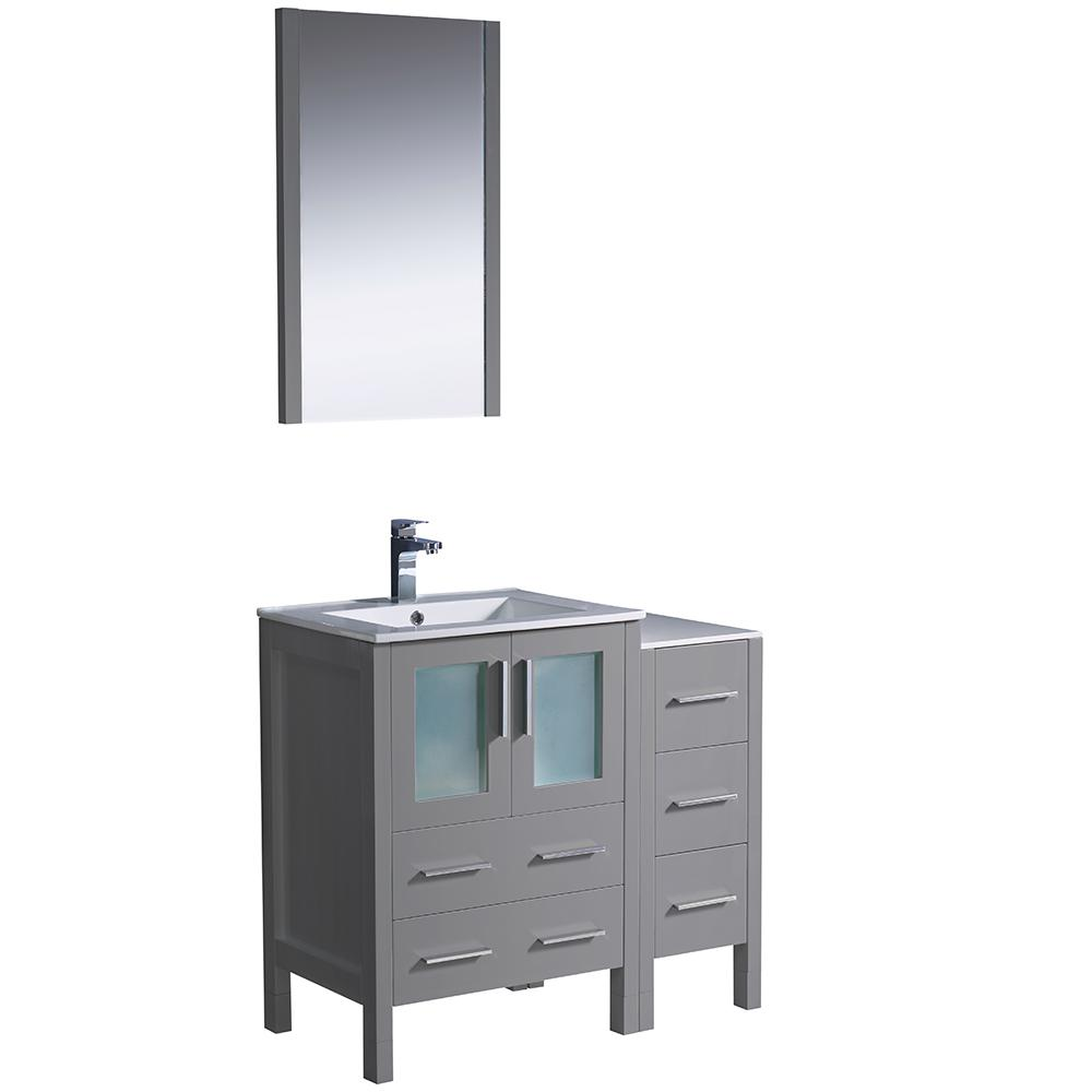 Fresca Torino 36 In Bath Vanity Gray With Ceramic Top White Basin Side Cabinet And Mirror