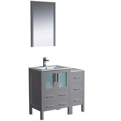 Torino 36 in. Bath Vanity in Gray with Ceramic Vanity Top in White with White Basin with Side Cabinet and Mirror