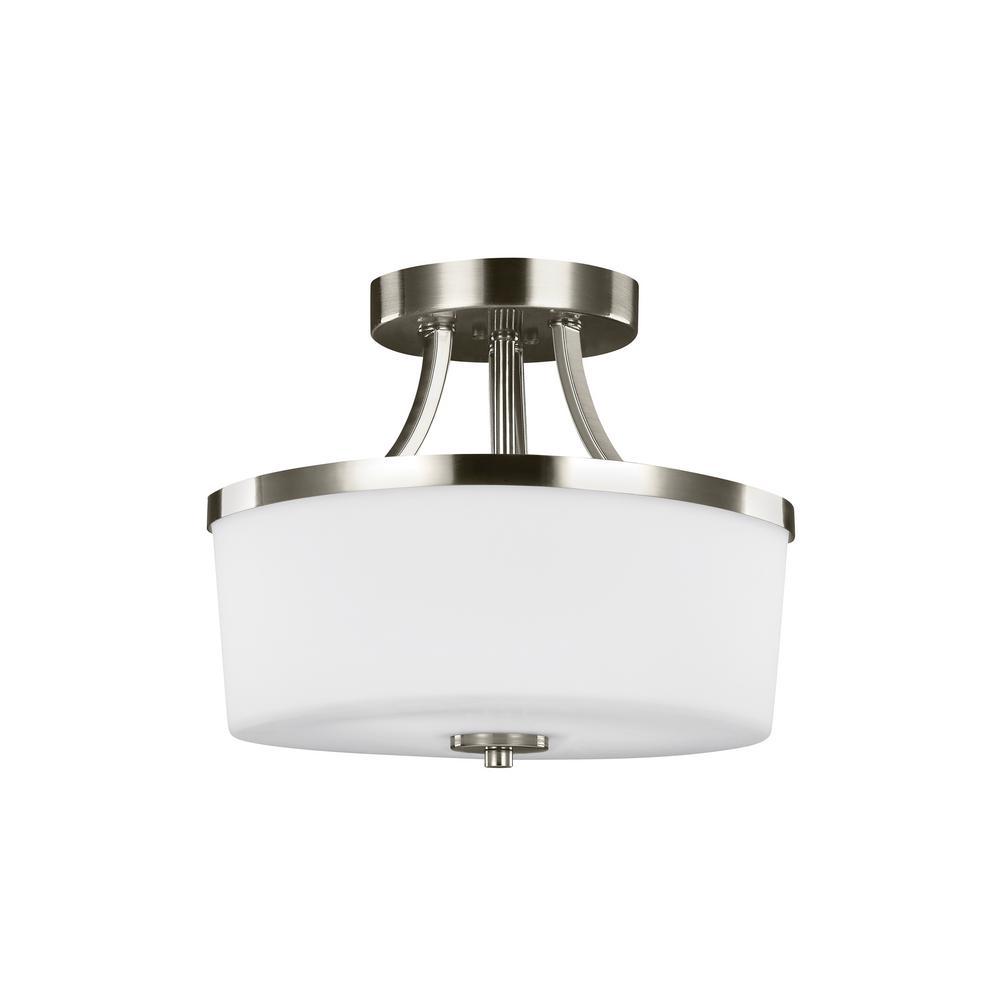 Hettinger 2-Light Brushed Nickel Semi-Flushmount Convertible Pendant with LED Bulbs