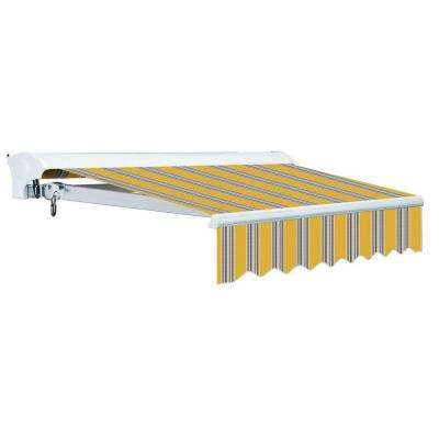 12 ft. Luxury L Series Semi-Cassette Electric w/ Remote Retractable Patio Awning (118in. Projection) Yellow Gray Stripes