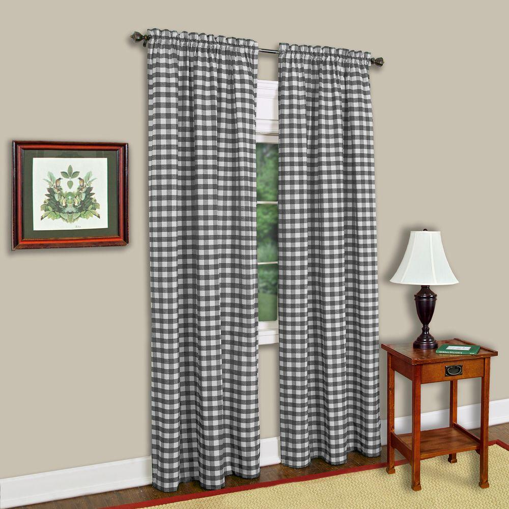 Semi-Opaque Buffalo Check Black Poly/Cotton Window Curtain Panel 42 in. W