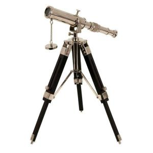 12 in. H x 7.5 in. W Silver/Black Brass Explorer Desk Telescope