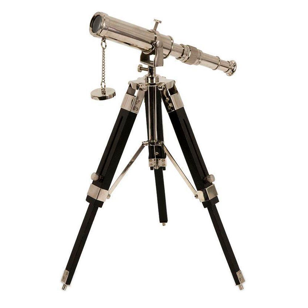 12 in. H x 7.5 in. W Silver/Black Brass Explorer Desk Telescope