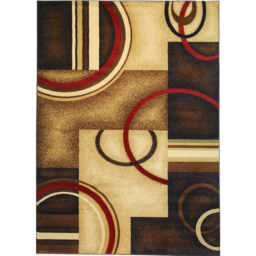 Well Woven Barclay Arcs and Shapes Navy 9 ft. 3 in. x 12 ft. 6 in. Modern Geometric Area Rug