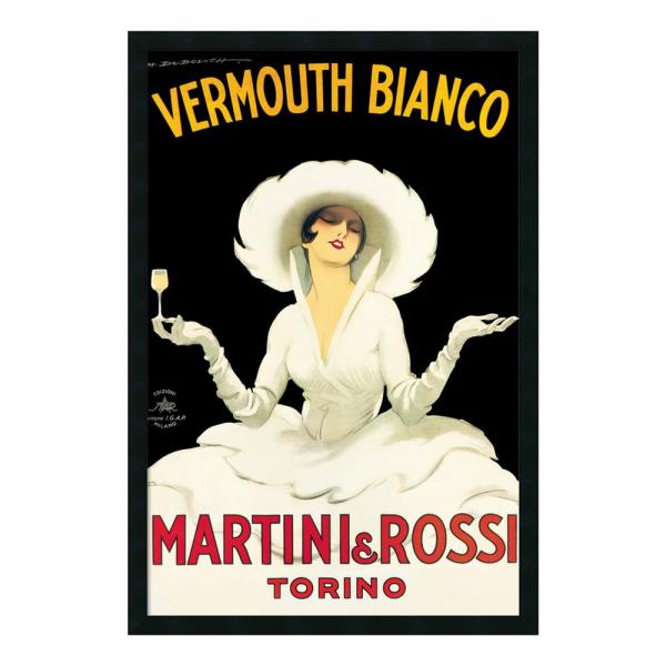 Amanti Art-26 in. x 38 in. Outer Size Martini and Rossi by Marcello Dudovich Framed Art Print