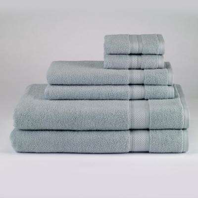 Solid 6-Piece Bath Towel Set in Surf Blue