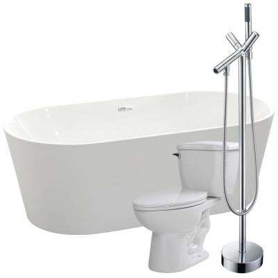 Chand 67 in. Acrylic Flatbottom Non-Whirlpool Bathtub in Glossy White with Havasu Faucet and Kame 1.28 GPF Toilet