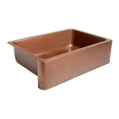 Adams Farmhouse Apron Front Handmade Pure Solid Copper 33 in. Single Bowl Kitchen Sink in Antique Copper
