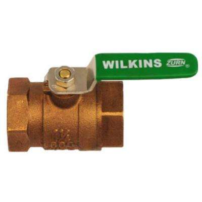 3/4 in. Lead-Free Bronze FNPT x FNPT Tapped Full Port Ball Valve