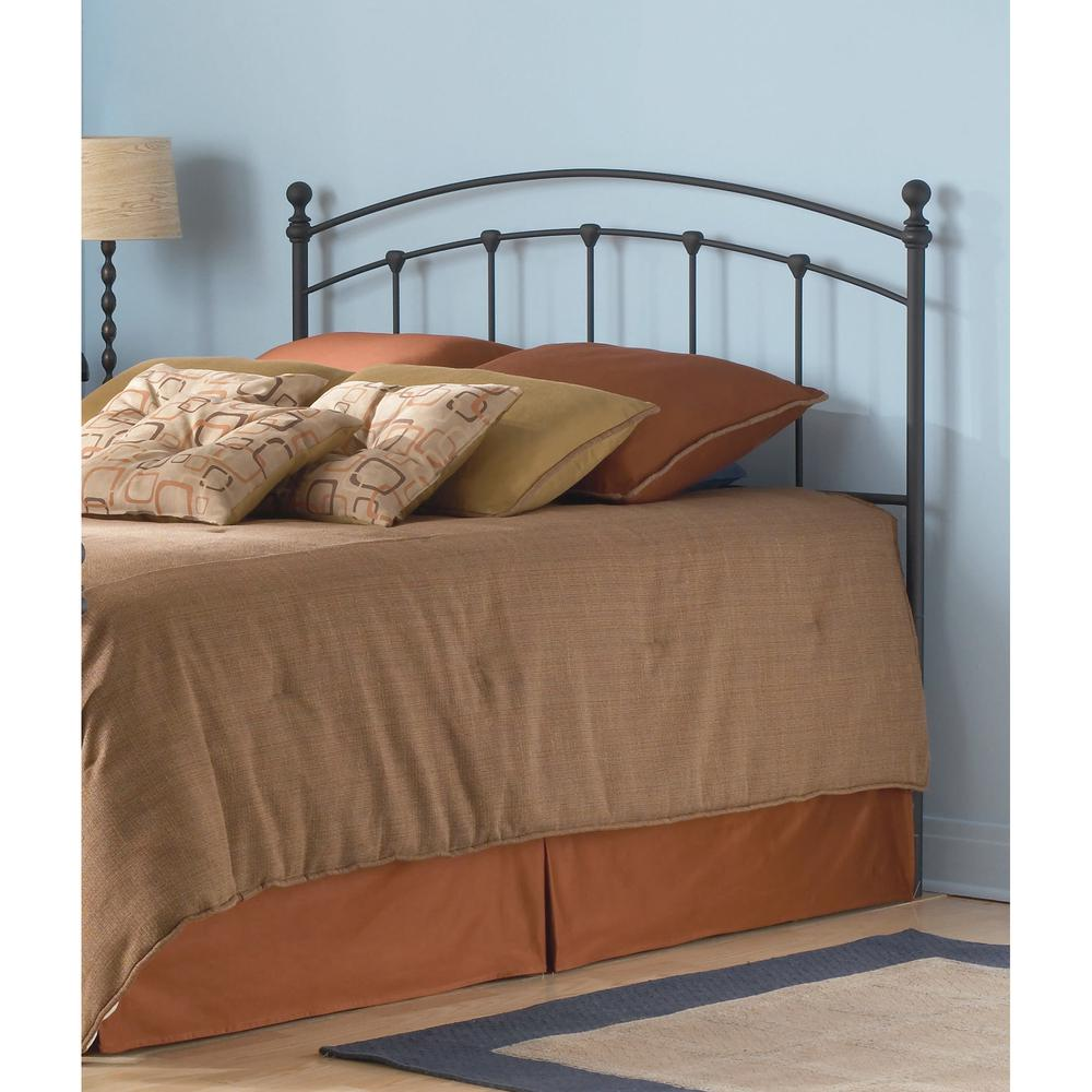 fashion bed group sanford queen size metal headboard with castings and round finial posts in. Black Bedroom Furniture Sets. Home Design Ideas