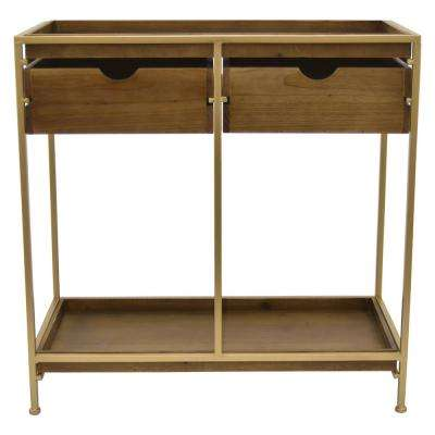 Metal/wood Plant Stand in Gold Metal 28in L x 14in W x 28in H