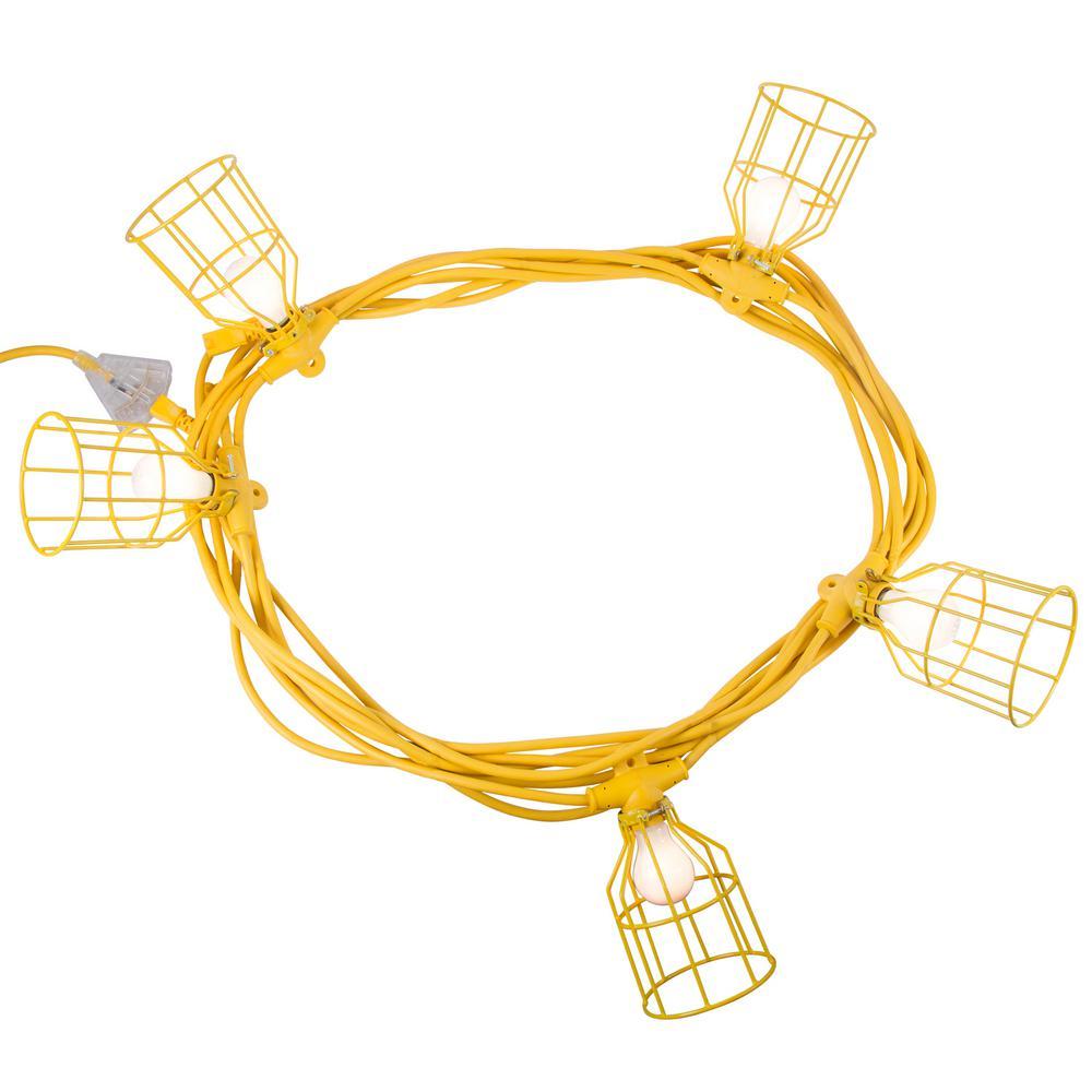 50 ft. 12/3 SJTW 5-Light Metal Guards Temporary Light Stringer, Yellow