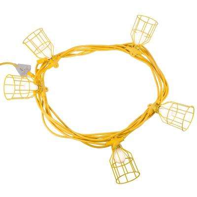 50 ft. 12/3 SJTW 5-Light Metal Guards Temporary Light Stringer, Yellow