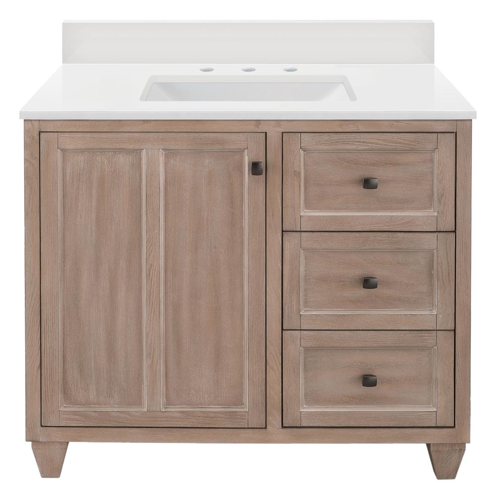 Home Decorators Collection Banks 37 in. W x 22 in. D Bath Vanity in Antique Ash with Engineered Marble Vanity Top in Winter White with White Sink