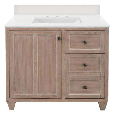 Banks 37 in. W x 22 in. D Bath Vanity in Antique Ash with Engineered Marble Vanity Top in Winter White with White Sink