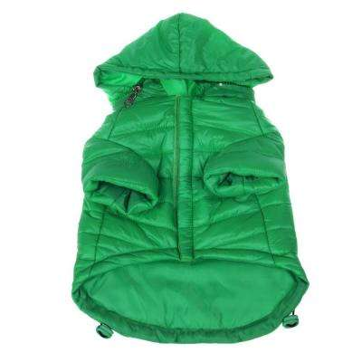 Medium Fresh Green Lightweight Adjustable Sporty Avalanche Dog Coat with Removable Pop Out Collared Hood