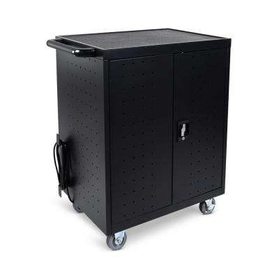 All Steel Mobile Charging Locker with Timer for 32 Laptops/Chromebooks in Black