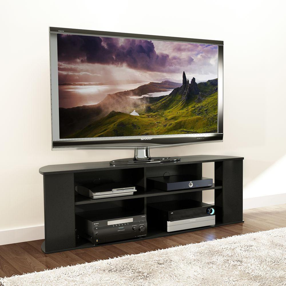 Essentials black storage entertainment center
