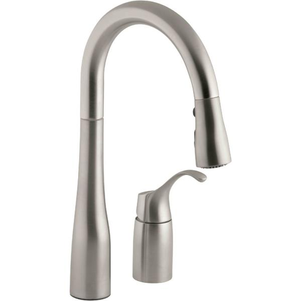 Kohler Simplice Single Handle Pull Down Sprayer Kitchen Faucet In Vibrant Stainless K 649 Vs The Home Depot