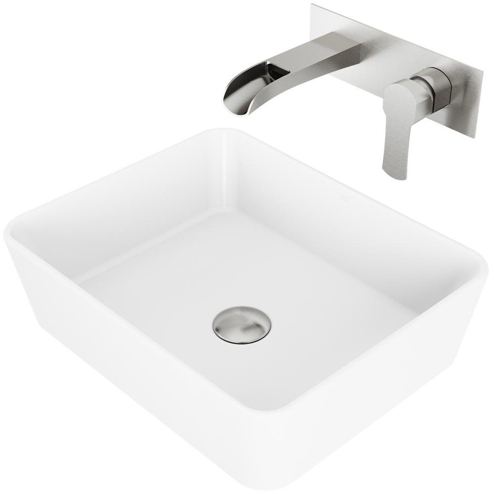 Marigold Matte Stone Vessel Bathroom Sink Set with Cornelius Wall Mount Bathroom Faucet in Brushed Nickel