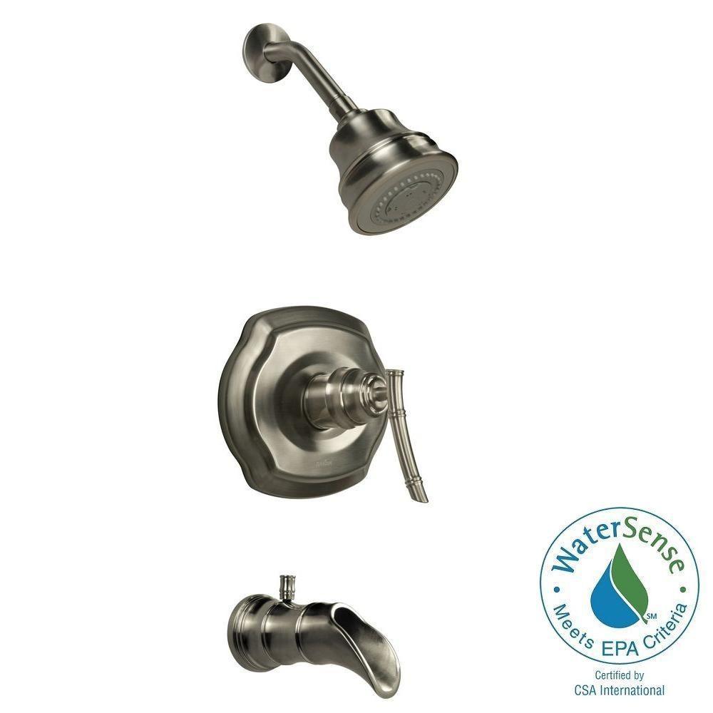 Pegasus Bamboo Watersense Single Handle 3 Spray Tub And Shower Faucet In Brushed Nickel Valve