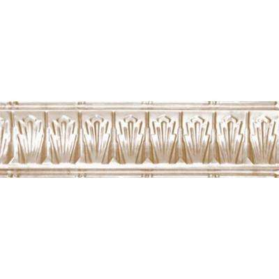 2-1/2 in. x 4 ft. x 2-1/2 in. Satin Brass Nail-up/Direct Application Tin Ceiling Cornice (6-Pack)