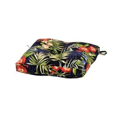 Luella Tropical Square Tufted Outdoor Dining Chair Seat Cushion
