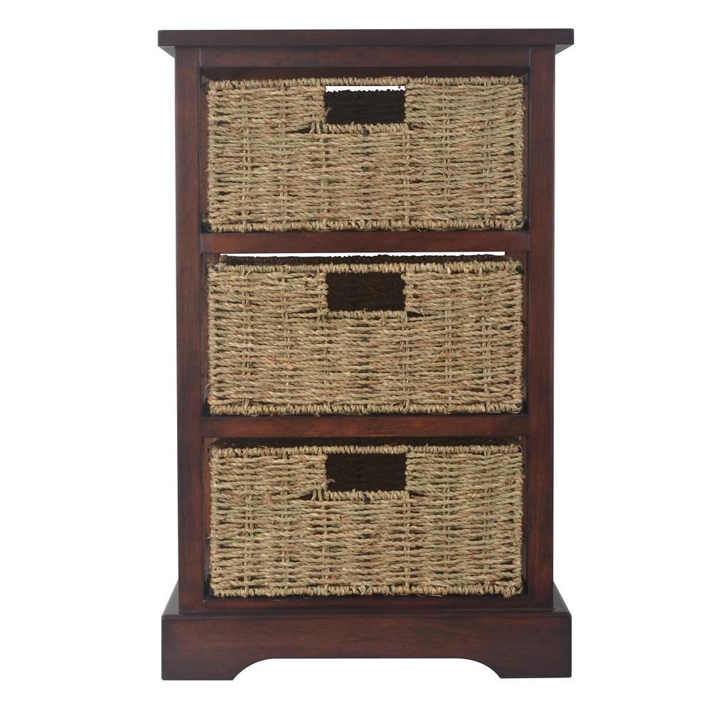 3-Basket Acacia Cherry Storage End Table