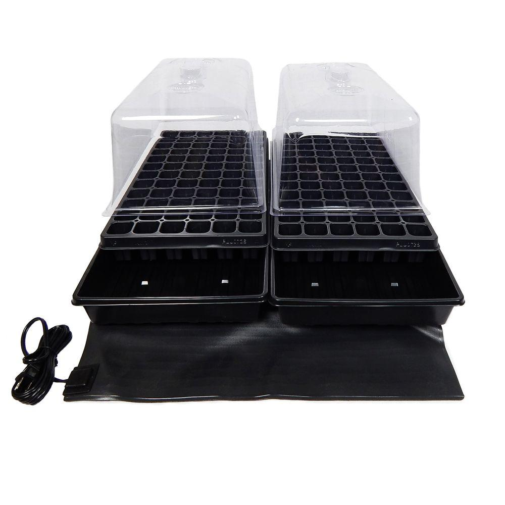 Viagrow 11 in. x 22 in. Tall Clear Plastic Dome Dual Tray Kit with 2 Domes, 2 Std. Flats (2) 72 Cell Inserts and Dual Heat Mat