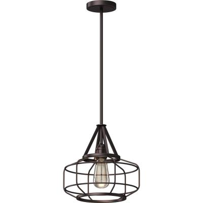 1-Light Indoor Antique Bronze Industrial-Inspired Downrod Pendant with Cage / Wire