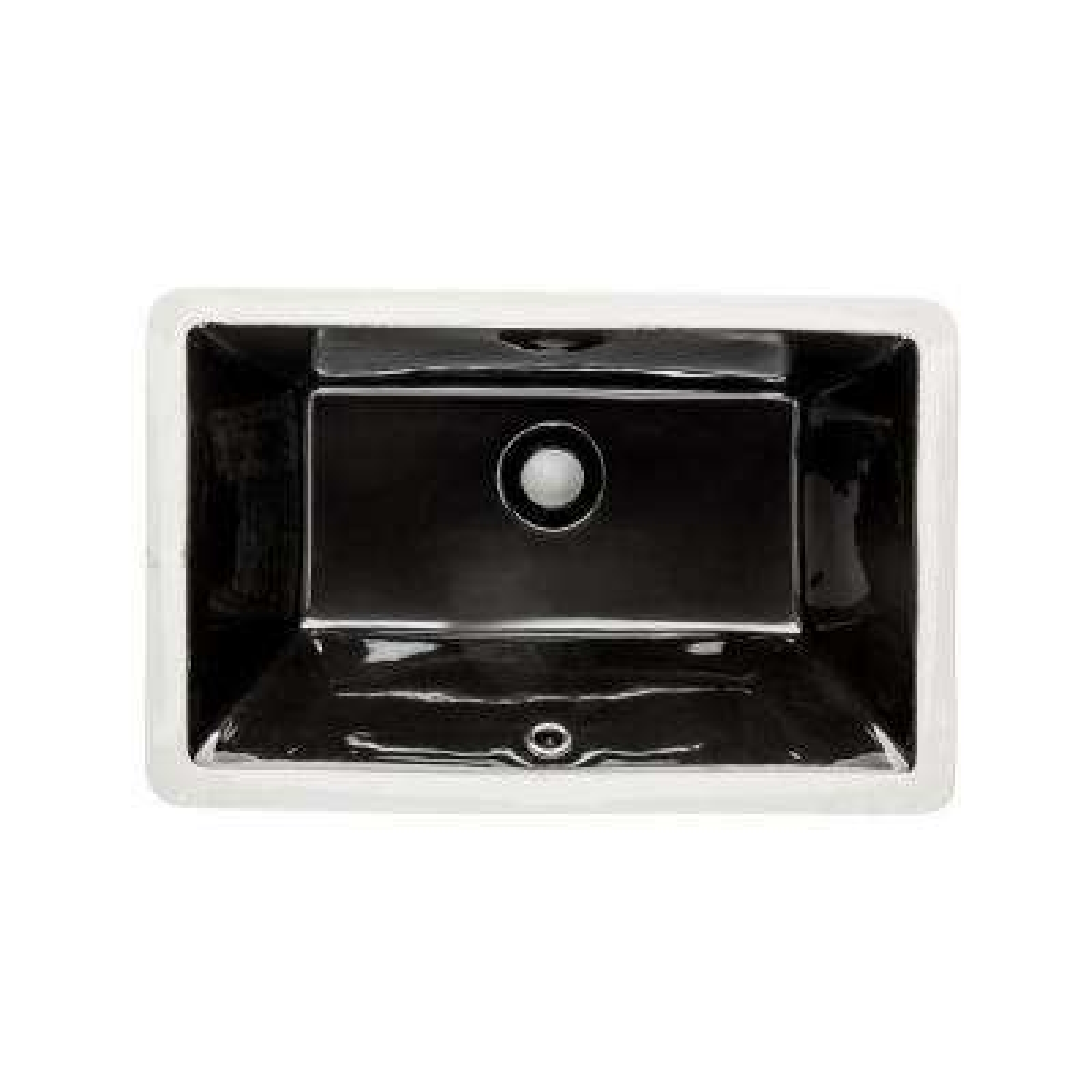 20 in. x 15 in. x 6 in. Rectangular Vitreous Ceramic Lavatory Single Bowl Undermount Bath Sink in Ebony