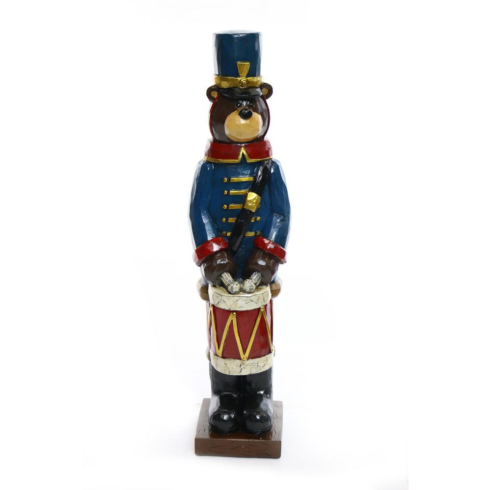 alpine christmas soldier bear with drum statue - Christmas Decorations Wooden Soldiers