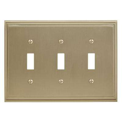 Gold 3-Gang 3-Toggle Wall Plate (1-Pack)