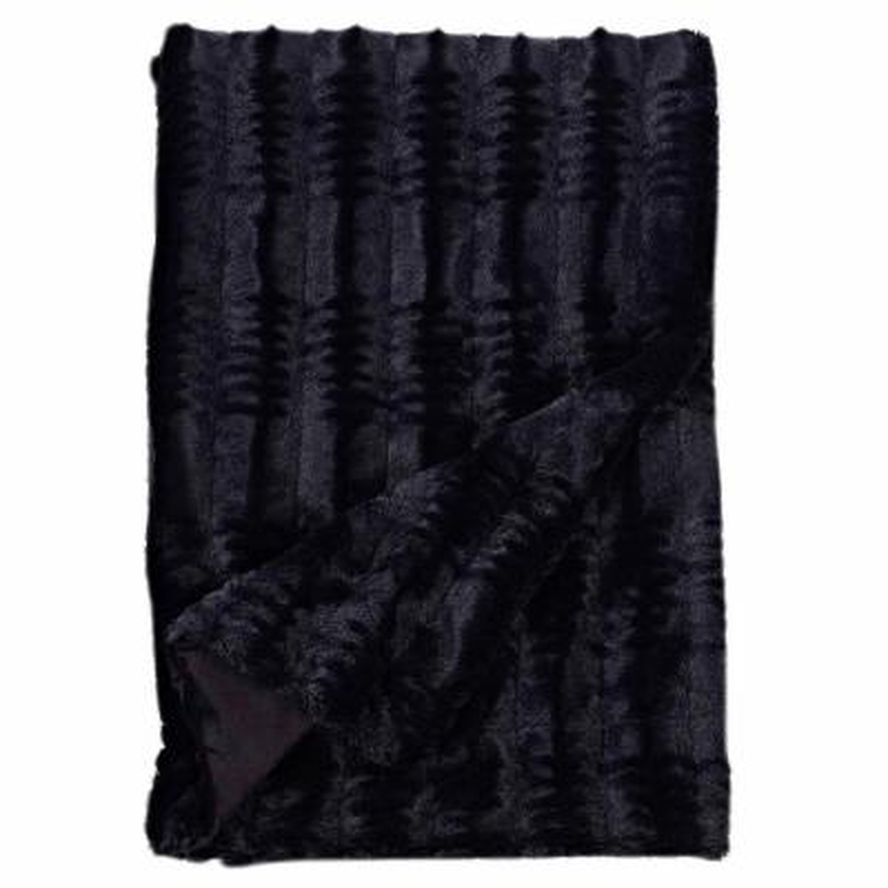 Cozy Black Embossed Faux Fur Reverse to Micomink Throw Blanket