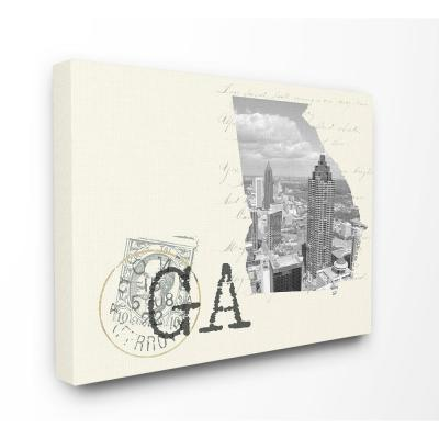 """30 in. x 40 in. """"Georgia Black and White Photograph on Cream Paper Postcard"""" by Daphne Polselli Canvas Wall Art"""