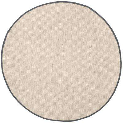 Natural Fiber Marble Dark Gray 8 Ft X Round Area Rug