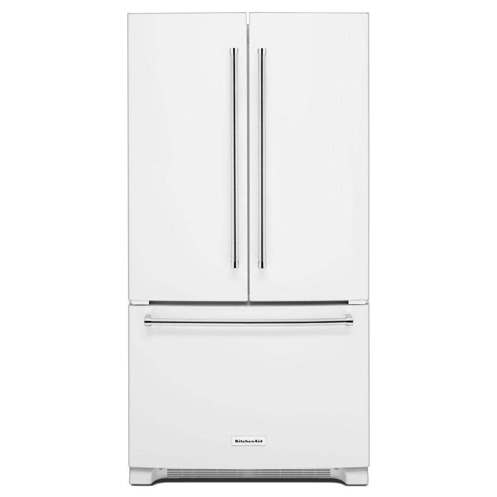Kitchenaid 36 In W 20 Cu Ft French Door Refrigerator White Counter
