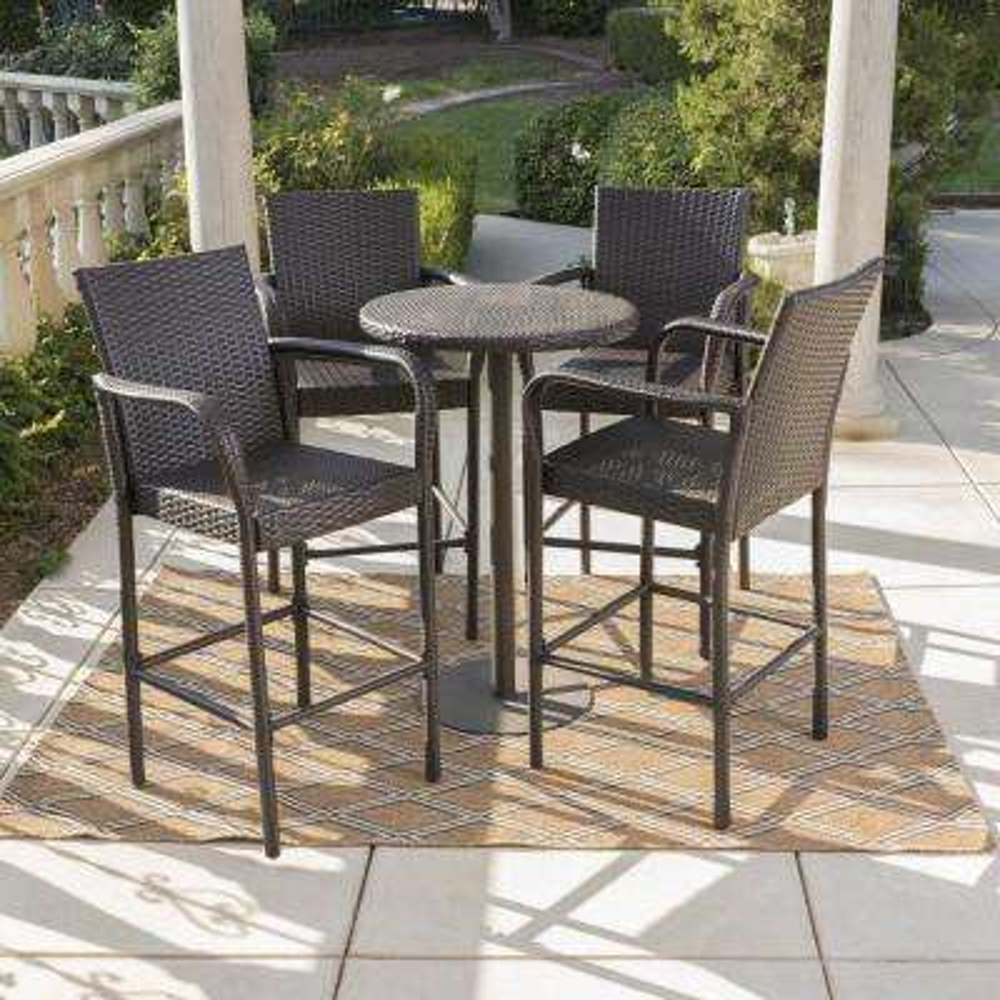 Patina Multi-Brown 5-Piece Wicker Outdoor Dining Set