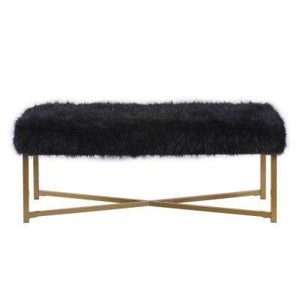 HomePop Faux Fur Rectangle Bench - Black