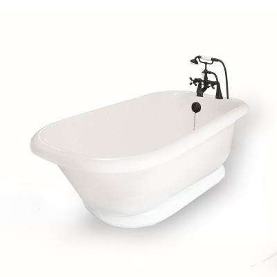 54 in. AcraStone Acrylic Classic Pedestal Flatbottom Non-Whirlpool Bathtub and Faucet in Old Bronze