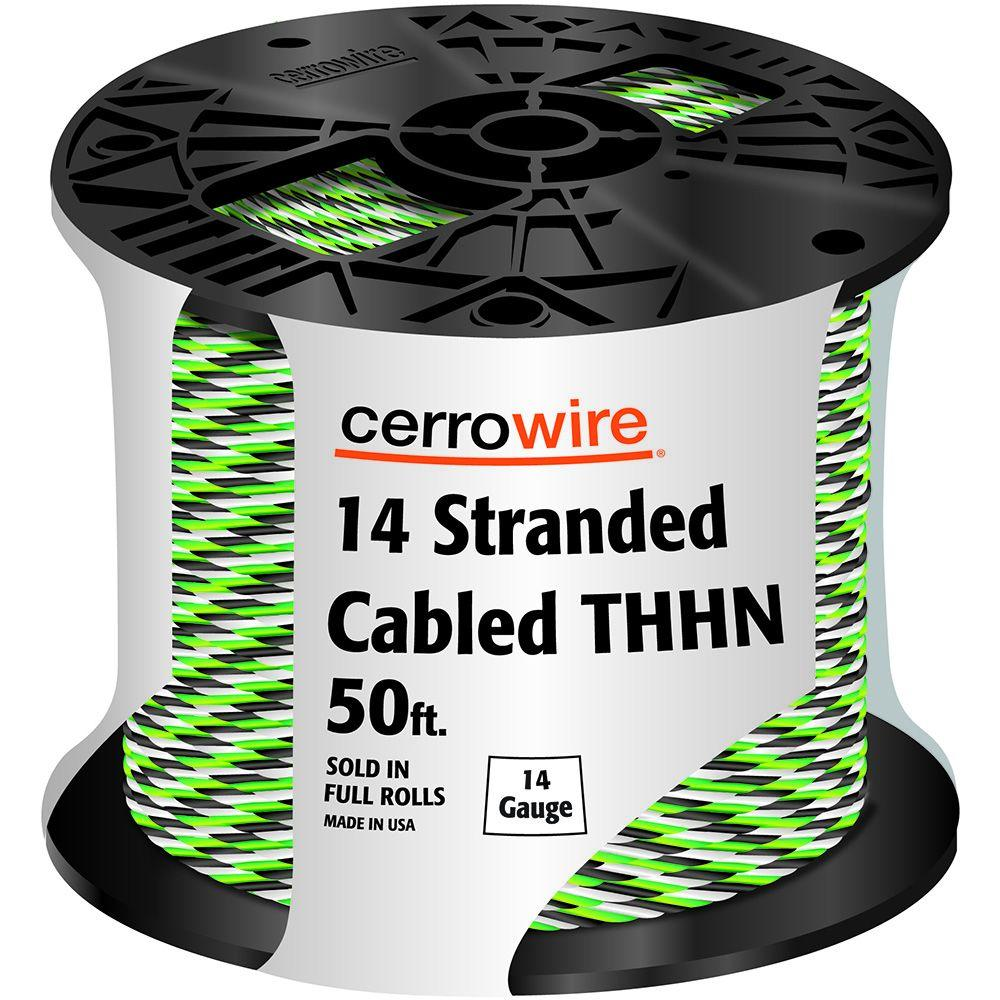 50 ft. 14-3 Black, White and Green Cabled Stranded THHN Cable
