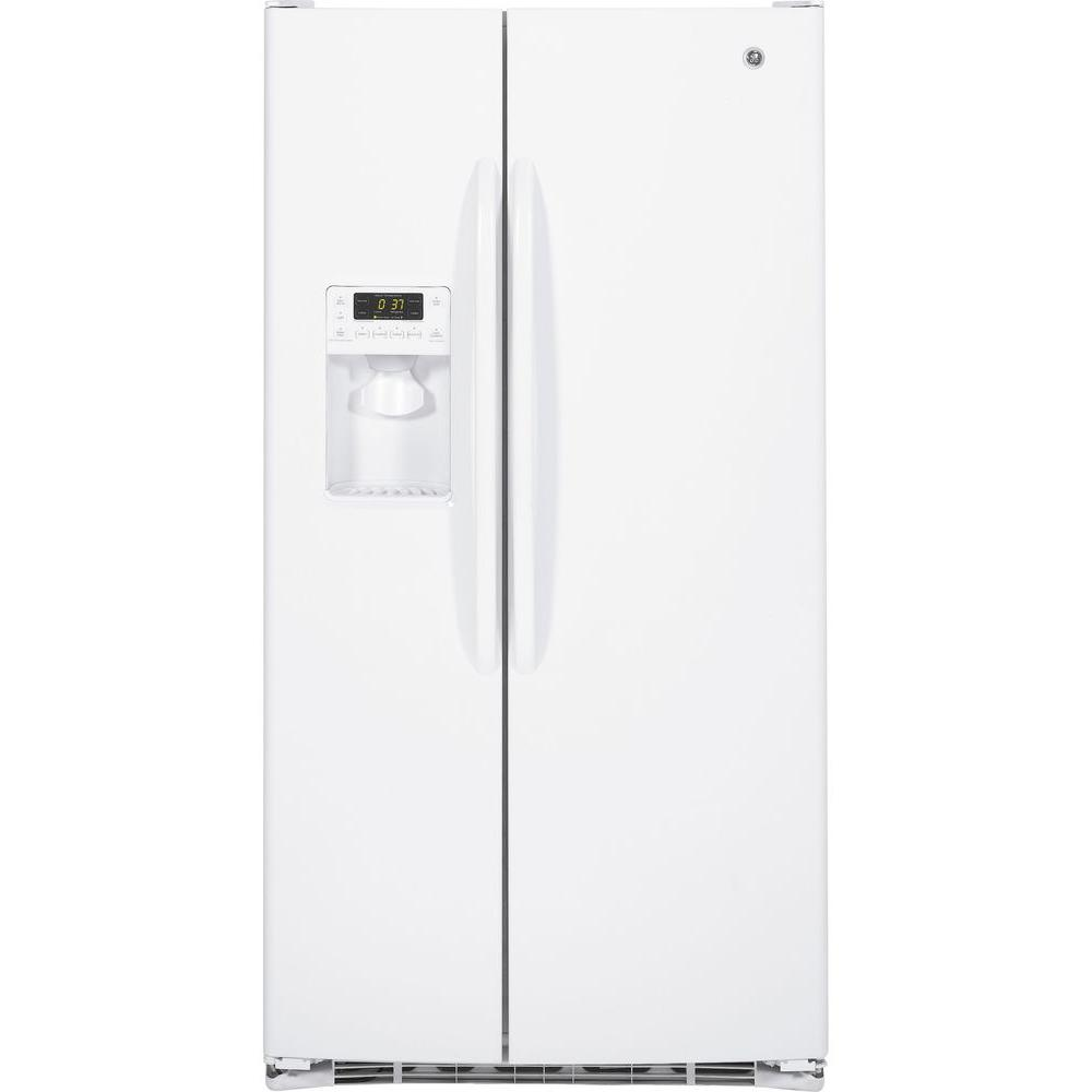 25.9 cu. ft. Side by Side Refrigerator in White Your GE refrigerator is the largest and most visible appliance in your kitchen, so it has to look great. As trends in kitchen decor change, so must refrigerators. Fortunately, GE is a leader in refrigerator style and design. And with GE, you never sacrifice substance for style. Our refrigerators lead the pack in food preservation and convenient features. Color: White.