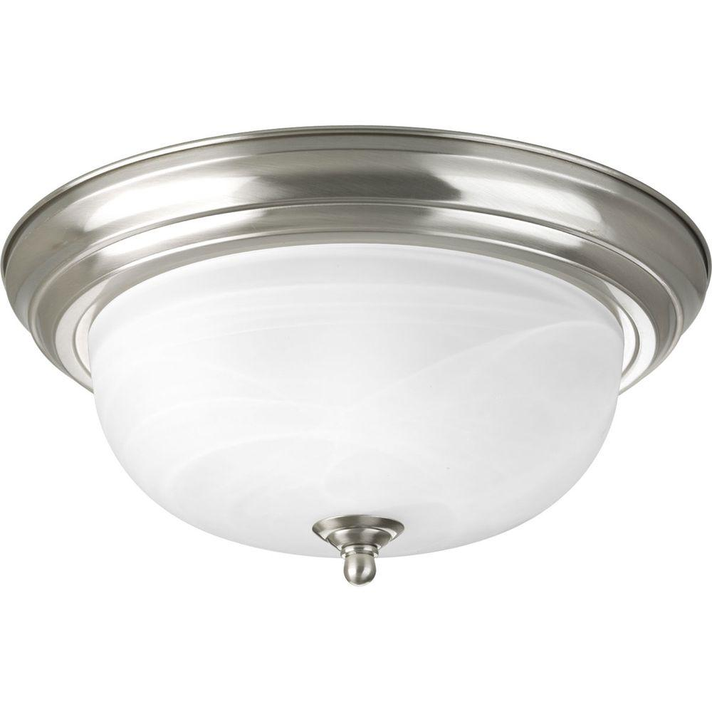 2-Light Brushed Nickel Flushmount with Alabaster Glass